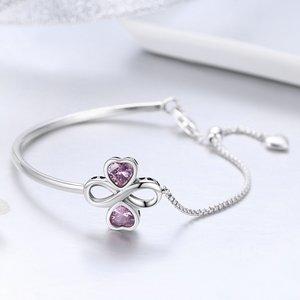 Bratara din argint Elegant Pink Clover