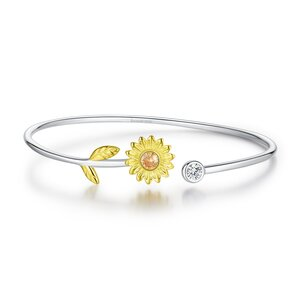 Bratara din argint fixa Shiny Sunflower