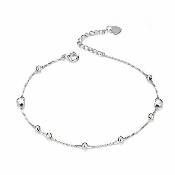 Bratara din argint Hearts and Beads