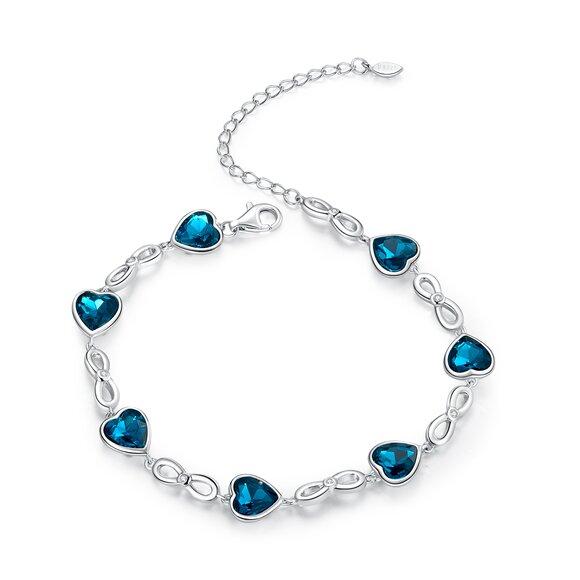 Bratara din argint Inifinite Blue Hearts