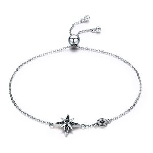Bratara din argint Silver Star black