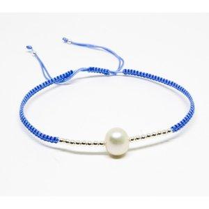Bratara din snur bleu cu Elemente din Argint si Perluta