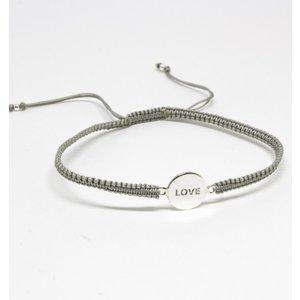 Bratara din snur gri cu Simbol LOVE din Argint
