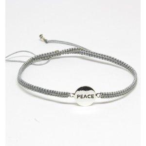 Bratara din snur gri cu Simbol PEACE din Argint