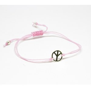 Bratara din snur roz cu Simbolul Pacii din Argint