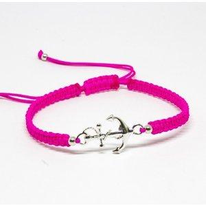 Bratara din snur roz neon cu Ancora din Argint