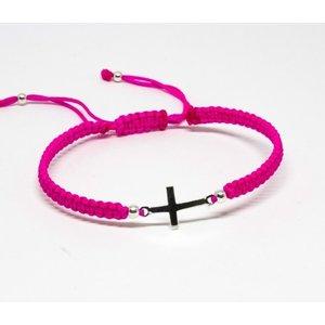 Bratara din snur roz neon cu Cruciulita din Argint