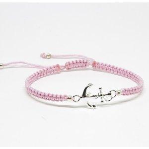 Bratara din snur roz pastel cu Ancora din Argint