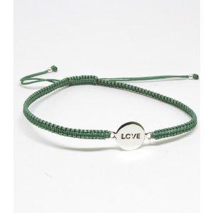 Bratara din snur verde cu Simbol LOVE din Argint