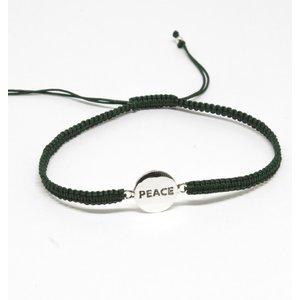 Bratara din snur verde cu Simbol PEACE din Argint