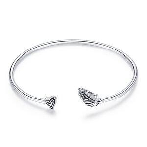 Bratara fixa din argint Heart Leaf