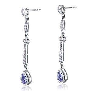 Cercei din arging Long Sapphire Diamond