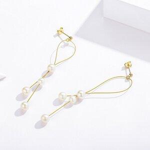 Cercei din argint Amazing Golden Pearls