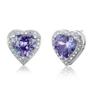 Cercei din argint Amethist Heart Diamond