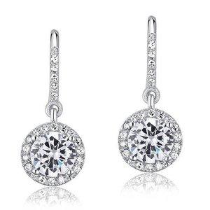 Cercei din argint Aqua Clear Round Diamond