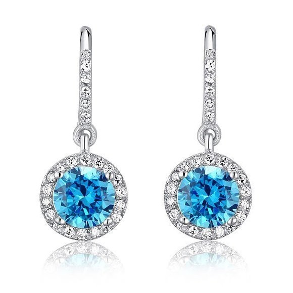 Cercei din argint Aqua Topaz Round Diamond
