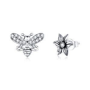 Cercei din argint Asymmetric Bee & Petunia