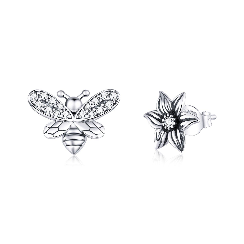 Cercei din argint Asymmetric Bee & Petunia poza 2021