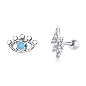 Cercei din argint Asymmetric Blue Eye