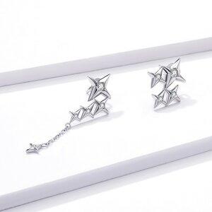 Cercei din argint Asymmetric Dropping Stars