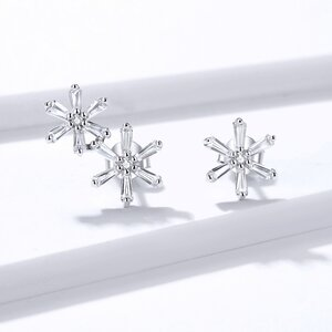 Cercei din argint Asymmetric Flowers