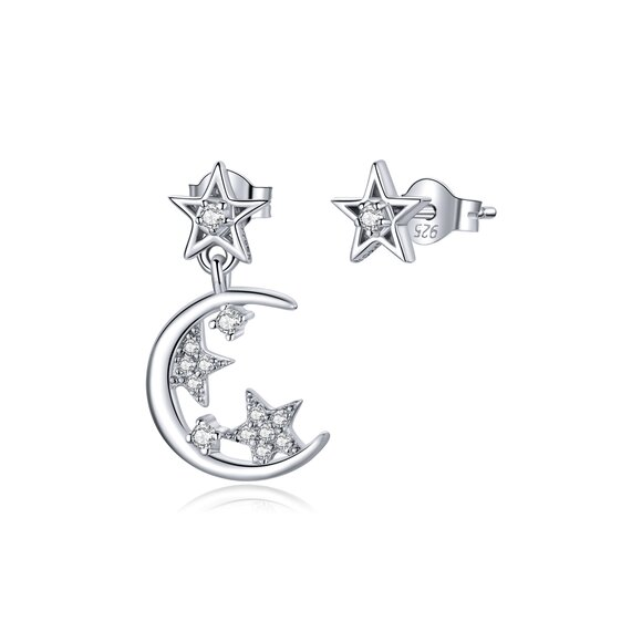 Cercei din argint Asymmetric Moon & Stars