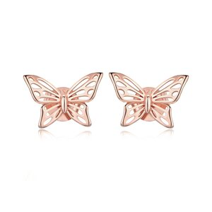 Cercei din argint Beautiful Butterfly Rose Gold