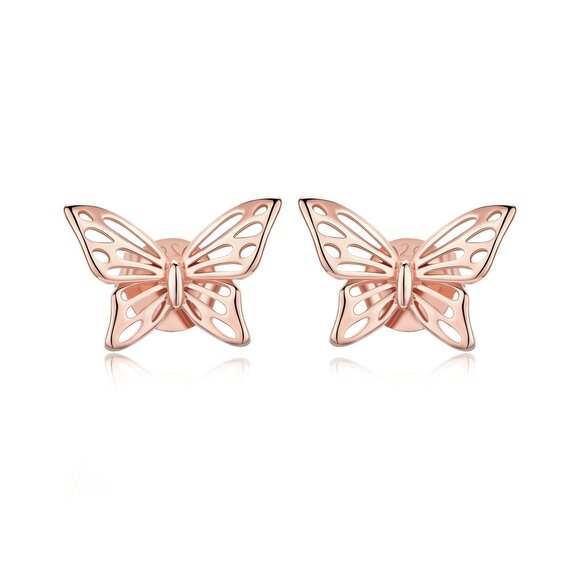 Cercei din argint Beautiful Butterfly Rose Gold