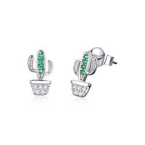 Cercei din argint Beautiful Green Cactus
