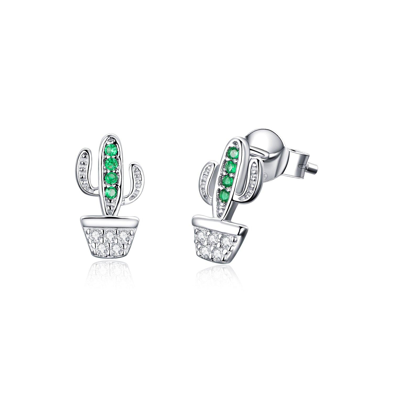 Cercei din argint Beautiful Green Cactus poza 2021