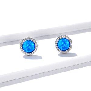Cercei din argint Big Round Blue Crystal