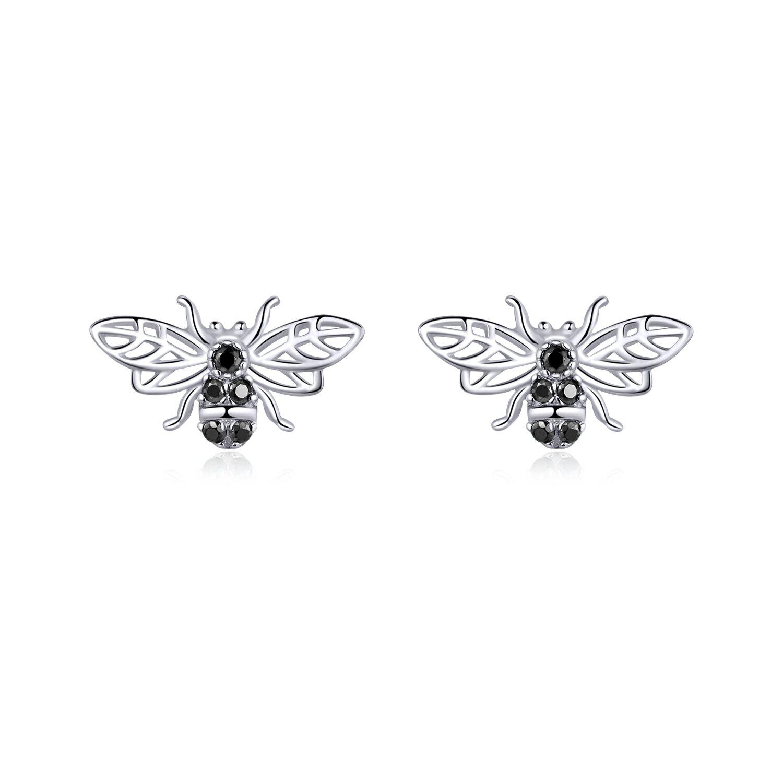 Cercei din argint Black Bees
