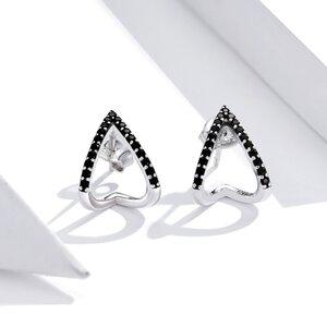 Cercei din argint Black Crystals V Shape
