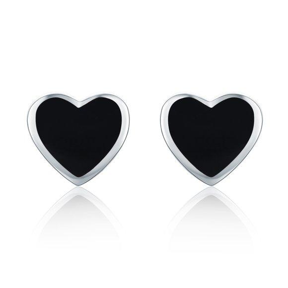 Cercei din argint Black Enamel Heart