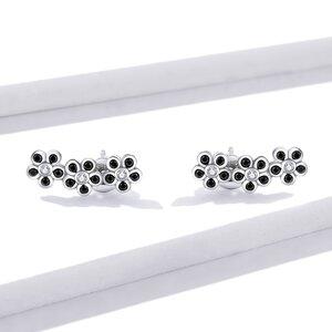 Cercei din argint Black Flowers
