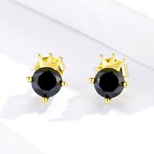 Cercei din argint Black Golden Crown