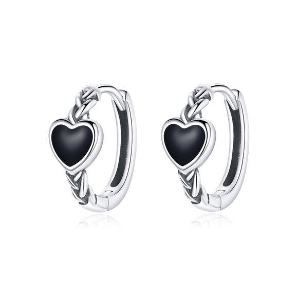 Cercei din argint Black Heart Hoops