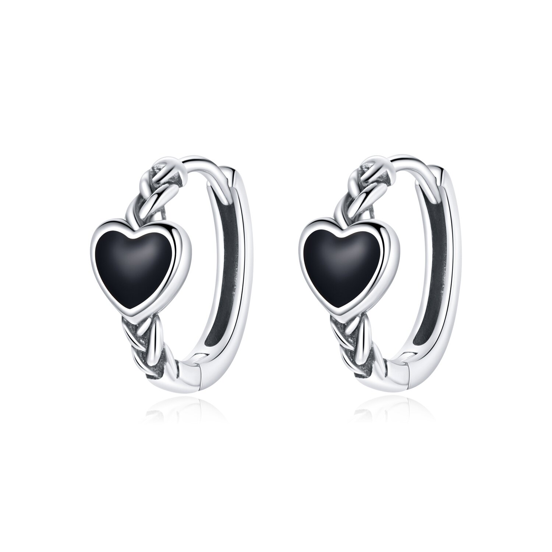 cercei din argint black heart hoops 87721 4