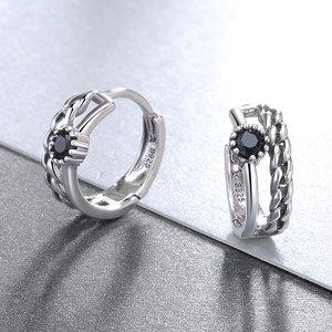 Cercei din argint Black Hoop
