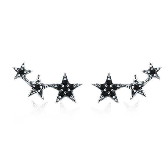 Cercei din argint Black Stars