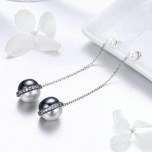 Cercei din argint Black & White Pearls