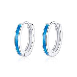 Cercei din argint Blue Band Hoops