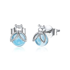 Cercei din argint Blue Crystal Ladybug