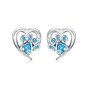 Cercei din argint Blue Crystal Paw