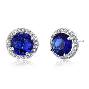Cercei din argint Blue Diamond Halo