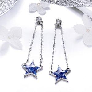 Cercei din argint Blue Falling Star