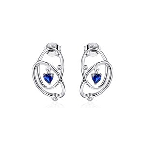 Cercei din argint Blue Heart Circles