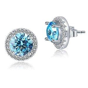 Cercei din argint Blue Round Diamonds