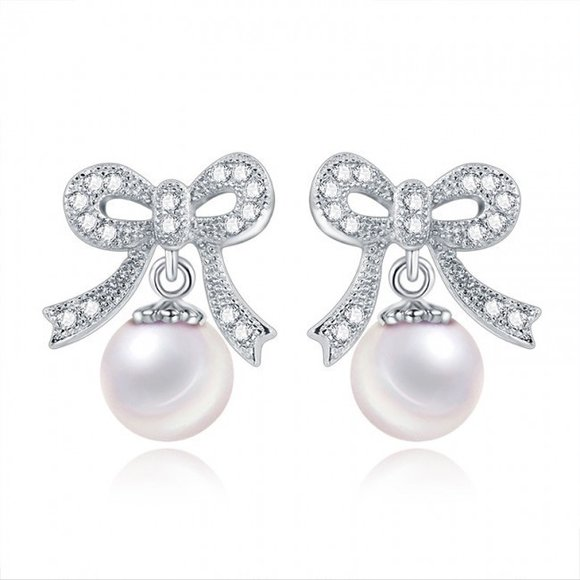 Cercei din argint Bow Pearl