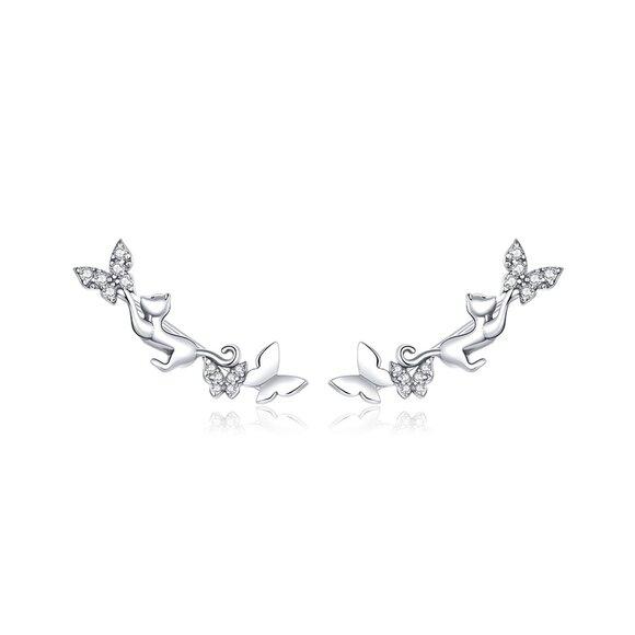 Cercei din argint Butterflies & Kitties